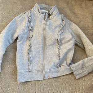 Peekaboo Beans grey sweatshirt with ruffles